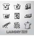 set freehand laundry icons with - clean and vector image