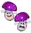 set of funny laughing mushroom isolated on white vector image vector image