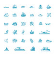 ships - set plain line design icons vector image