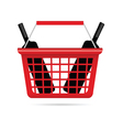 shopping basket with wine vector image vector image