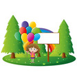 sign template with girl holding balloons vector image vector image