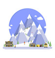 ski resort in mountains winter time vector image vector image