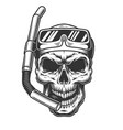 skull in diving mask vector image vector image