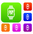 Smartwatch with sport app set collection vector image