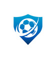 swoosh soccer football shield logo icon vector image