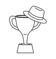trophy with hat black and white vector image vector image