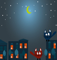 Two cats at night vector image vector image