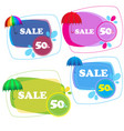 umbrella stickers collection isolated on white vector image vector image