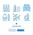 vaccination thin line icons set vector image