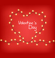 valentine day heart with glowing lights vector image vector image