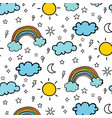 weather doodle pattern background vector image vector image