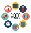 white background with text data center an icons vector image
