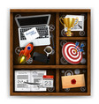wooden box with items of business office vector image vector image