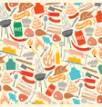 background pattern with barbecue and food icons vector image