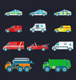 city transport set in flat style different vector image