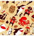 pirates and sharks and nautical objects vector image
