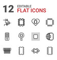 12 cpu icons vector image vector image