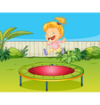 A girl jumping on a trampoline vector image vector image