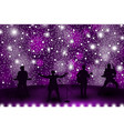 band show concept with violet light and stars set vector image vector image