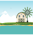 Barn near border crossings vector image