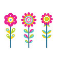 bright flowers on thin stems colorful details vector image vector image