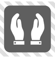 Care Hands Rounded Square Button vector image vector image