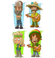 cartoon redneck farmer with guitar character set vector image