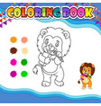 coloring book lion holding pencil and book vector image vector image
