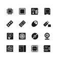 Computer chips icons set vector image