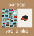 cover design with different bags pattern vector image vector image