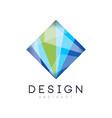creative crystal logo template diamond-shaped vector image vector image