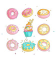 cute funny girl teenager colored icon set donuts vector image vector image