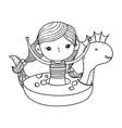 cute little girl in dinosaur float vector image