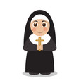 cute nun in black robes vector image