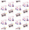 cute unicorn break dance hip hop seamless pattern vector image