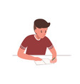 cute young boy sitting at desk and writing school vector image