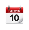 february 10 flat daily calendar icon date vector image vector image