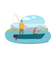 fisherman fishing from boat vector image vector image
