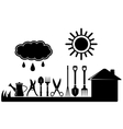 gardening tools set on farm landscaping vector image vector image