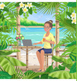 girl with laptop at tropical coast vector image vector image