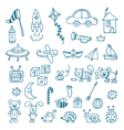 Hand drawn toys for boys set of different toys vector image vector image