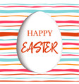 happy easter decorated white flat egg with simple vector image vector image