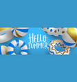 hello summer 3d gold pool lifesaver web banner vector image vector image