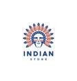 icon american man with indian chief feathers on vector image vector image