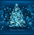 magic christmas tree on blue background vector image vector image