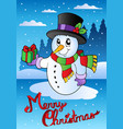 merry christmas card with snowman 2 vector image