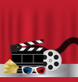 movie film 3d glasses and movie ticket vector image