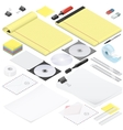 Office stationery detailed isometric icon set vector image vector image
