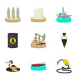 oil pollution icons set cartoon style vector image vector image