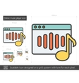 Online music player line icon vector image vector image